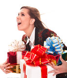 Beautiful girl with group of gift box. Stock Photos