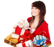 Beautiful girl with group of gift box. Stock Images