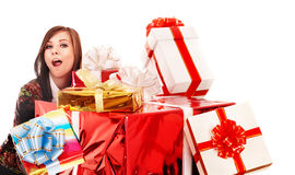Beautiful girl with group of gift box. Stock Image