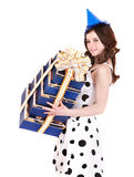 Beautiful girl with group of gift box. Royalty Free Stock Photos