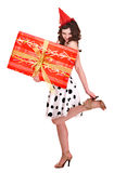Beautiful girl with group of gift box. Stock Photography