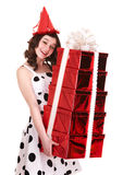Beautiful girl with group of gift box. Royalty Free Stock Image