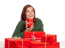 Beautiful girl and a group of gifts Stock Image