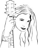 Beautiful girl with a guitar Royalty Free Stock Photography