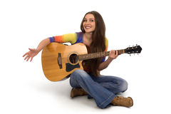 Beautiful girl with guitar. On a white background Royalty Free Stock Photos