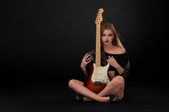 Beautiful girl  and guitar Stock Photography
