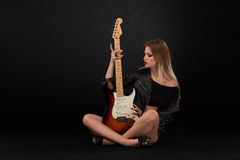 Beautiful girl  and guitar Royalty Free Stock Photo