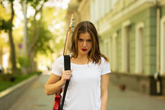Beautiful girl with guitar Stock Image