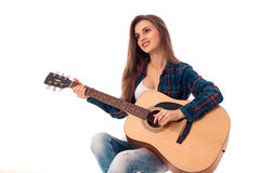 Beautiful girl with guitar smiling Stock Photo