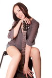 Beautiful girl with guitar Stock Image