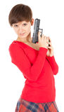 Beautiful girl with gun Royalty Free Stock Photography