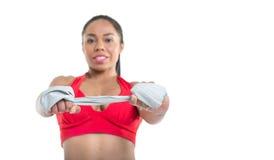 Beautiful girl and  gym equipment Stock Photos