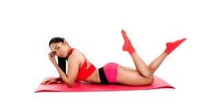 Beautiful girl and  gym equipment Stock Photo