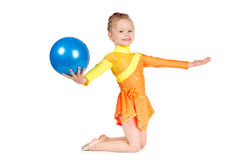 Beautiful girl gymnast with a ball Royalty Free Stock Photos