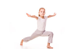 Beautiful girl gymnast  exercising, stretching Stock Image