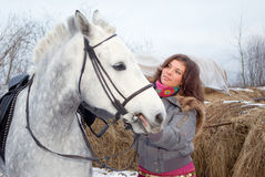 Beautiful girl-gypsy with horse. Royalty Free Stock Photo