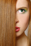 beautiful girl hair long red Στοκ Φωτογραφία