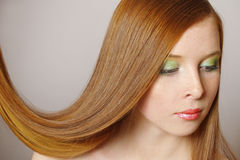 beautiful girl hair long red Στοκ φωτογραφία με δικαίωμα ελεύθερης χρήσης