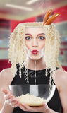 Beautiful girl with hair noodle Royalty Free Stock Images