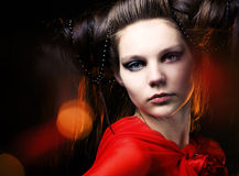 Beautiful girl with a hairdress Royalty Free Stock Image