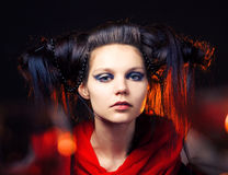 Beautiful girl with a hairdress Royalty Free Stock Photos