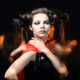 Beautiful girl with a hairdress Royalty Free Stock Photography