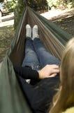 Beautiful girl in a hammock Stock Photos