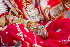 Beautiful girl hand decorated with henna style of an Indian bride. Jaisalmer, India Stock Photo