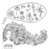 Beautiful girl. With hand drawn decorative wave hair dreaming about vacation. set of vacation icons. summer background. design elements Royalty Free Stock Image
