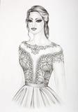Fashion illustration of a beautiful girl  Stock Photos