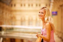 Beautiful girl at handrail Royalty Free Stock Photography