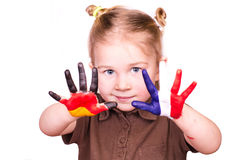 Beautiful girl with hands painted as German and French flags. Isolated on white. Study languages and travelling concept royalty free stock photos