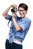 Beautiful girl hands retro photographic camera Royalty Free Stock Photos