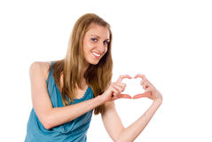 Beautiful girl hands shows heart Stock Photography