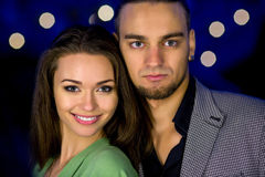 Beautiful girl and handsome guy closeup portrait. Stock Image
