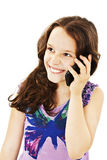 Beautiful girl with a happy expression talking on the phone Stock Photography