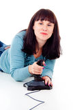 Beautiful girl happy, playing video games Royalty Free Stock Image