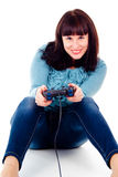 Beautiful girl happy, playing video games Stock Photo