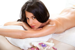 Beautiful girl has a relax on spa room Royalty Free Stock Photos