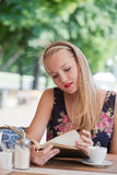 Beautiful girl has a rest in street cafe Royalty Free Stock Photography