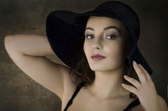 beautiful  girl in hat Stock Photography
