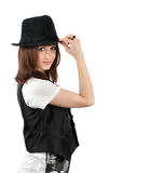 Beautiful girl in a hat Stock Image