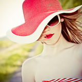 beautiful girl in the hat Royalty Free Stock Images