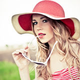 Beautiful girl in the hat Stock Photo