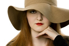 The beautiful girl in a hat Royalty Free Stock Photography