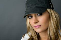 Beautiful girl in hat stock photo