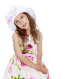Beautiful girl in hat Stock Images