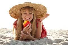 Beautiful girl in hat at beach Royalty Free Stock Photo