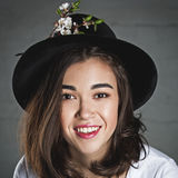 Beautiful girl in hat Stock Photos