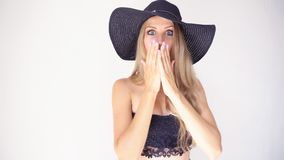 Beautiful girl in a hat with a brim fashion poses. 1 stock video footage